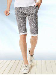 Pockets Back Ornate Print Knee Length Shorts ODM Designer - WHITE