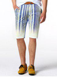 Zipper Fly Striped genou Shorts - Bleu