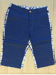 Zipper Fly Plaid Denim Spliced Knee Length Shorts ODM Designer - BLUE