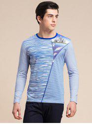 Striped Zipper 3D Print Round Neck Long Sleeve T-Shirt ODM Designer - BLUE