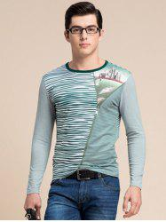 Striped Zipper 3D Print Round Neck Long Sleeve T-Shirt ODM Designer