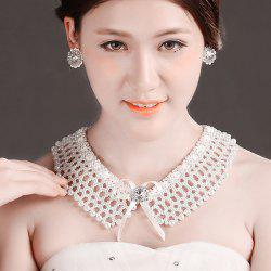 Elegant Cut Out Faux Pearl Fake Collar Necklace Set