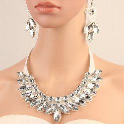 Stylish Artificial Crystal Floral Bib Necklace Set