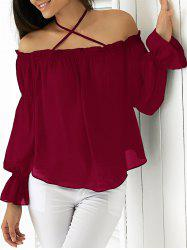 Elegant Halter Flounced Long Sleeve Blouse