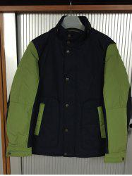 Stand Collar Color Splicing Padded Jacket ODM Designer - BLACK