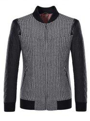 Stand Collar Small Plaid Pattern Splicing Jacket ODM Designer - BLACK