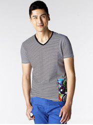 Printed Striped Spliced V-Neck T-Shirt ODM Designer - BLACK