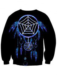 Round Neck Spider Web Printed Sweatshirt
