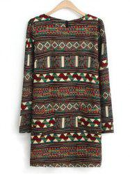 Ethnic Geometric Print Tunic Dress