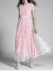 Flowers Print Tulle Spliced High Waist Maxi Dress