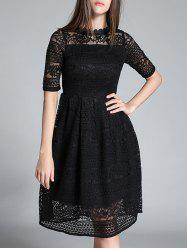 Crochet Openwork Lace High Waist Flare Dress