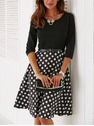 Vintage Belted Knee Length Polka Dot Dress - BLACK