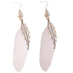 Bohemia Leaf Feather Rhinestone Embellished Drop Earrings