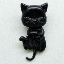 1PCS Cat Shape Piercing Stud Earring - BLACK