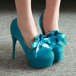Suede Ribbons Platform Pumps - LAKE BLUE