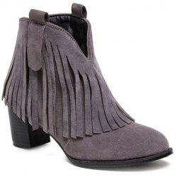 Suede Zipper Fringe Ankle Boots