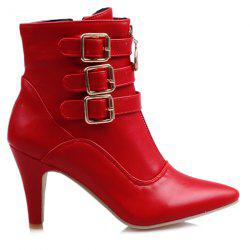 Buckles Pointed Toe Double Zipper Short Boots