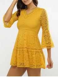 Bell Sleeves Guipure Openwork Lace Dress -