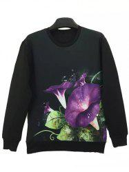 Round Neck 3D Flower Print Long Sleeve Sweatshirt