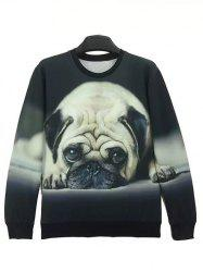 Round Neck 3D Dog Print Long Sleeve Sweatshirt - BLACK L