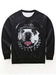 Round Neck 3D Dog in the Hat Print Long Sleeve Sweatshirt - BLACK XL