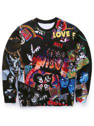 Round Neck 3D Cartoon Figures Spliced Print Long Sleeve Sweatshirt - BLACK
