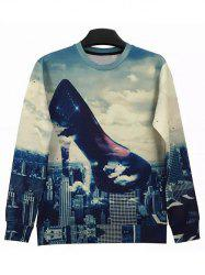 Round Neck 3D Abstract High-Heeled Shoes and City Print Long Sleeve Sweatshirt -