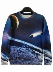 Round Neck 3D Meteor Long Sleeve Galaxy Sweatshirt