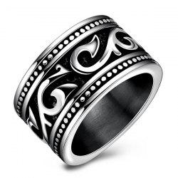 Fashion Stoving Varnish Etched Ring - SILVER
