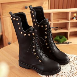 Rivet Lace Up Flat Mid Calf Boots