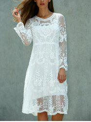 Modest Crochet Knee Length A Line Lace Dress with Long Sleeves - WHITE