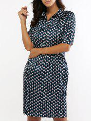 Retro Print Half Sleeve Stain Midi Shirt Dress -