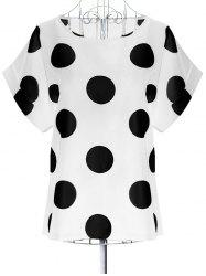 Oversized Scoop Neck Polka Dot Pattern Blouse