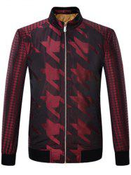 Houndstooth Pattern Zip Up Long Sleeve Padded Jacket ODM Designer