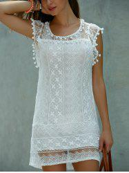 Maj Scoop Neck manches en dentelle Mini-robe - Blanc