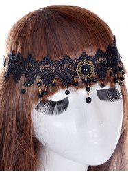 Faux Gem Forehead Elastic Hair Band - BLACK