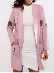 Embroidered Double Pockets Knitted Cardigan -