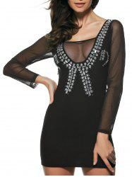 Rhinestone Sheer Long Sleeve Night Out Dress - BLACK ONE SIZE(FIT SIZE XS TO M)