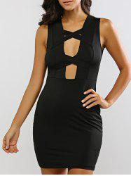 Sleeveless Criss-Cross Cut Out Bandage Dress