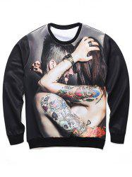 Round Neck 3D Tattoo Couple Print Long Sleeve Sweatshirt