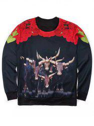Round Neck 3D Florals and Bull Print Long Sleeve Sweatshirt -