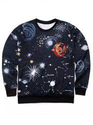 Round Neck 3D Outer Space Print Long Sleeve Sweatshirt -