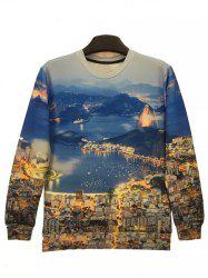 Round Neck 3D City Night View Print Long Sleeve Sweatshirt