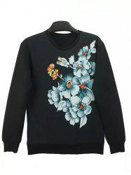 Round Neck 3D Flowers Print Long Sleeve Sweatshirt -