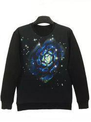 Round Neck 3D Flower and Star Print Long Sleeve Sweatshirt -