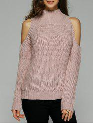 Warm Cold Shoulder Sweater - NUDE PINK