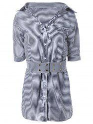 Striped Faux Two-Piece Belted Shirt Dress -