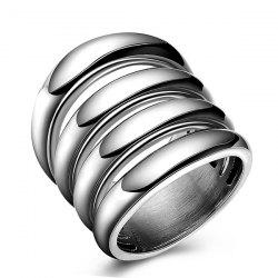 Fashion Cut Out Shiny Side Four Rows Ring - SILVER