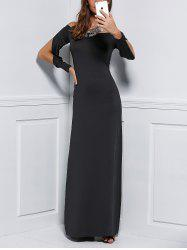 Off Shoulder Fitted Long Sleeve Maxi Formal  Evening Dress