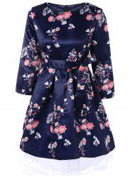 Retro Round Neck Floral Printed 3/4 Sleeve Bowknot Fit and Flare Dress -